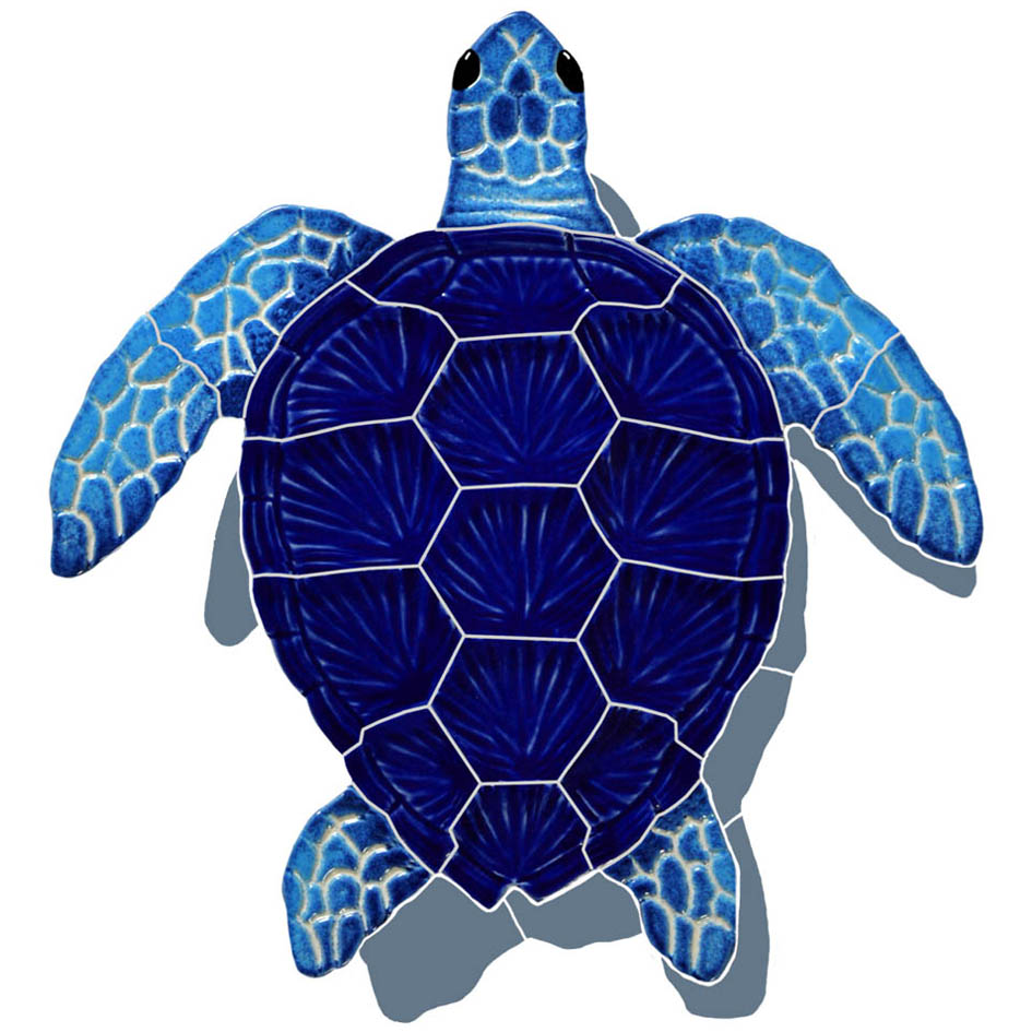 "Loggerhead Turtle Blue Small with Shadow Ceramic Mosaic Swimming Pool Mural 9"" x 8"", 1 piece"