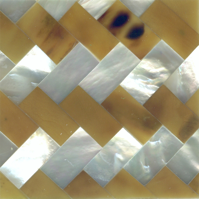 "Light Brown Tab Penshell & White Mother of Pearl Zig Zag Shell Tile 2"" x 2"", 1 Tile"
