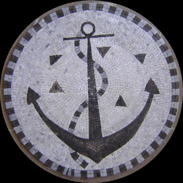 "Anchor Handcut Stone Mosaic Medallion, 60"" Circle, 1 piece"
