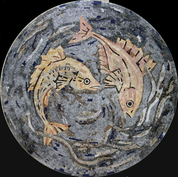 "Swimming Fish Handcut Stone Mosaic Medallion 75"" Circle, 1 piece"