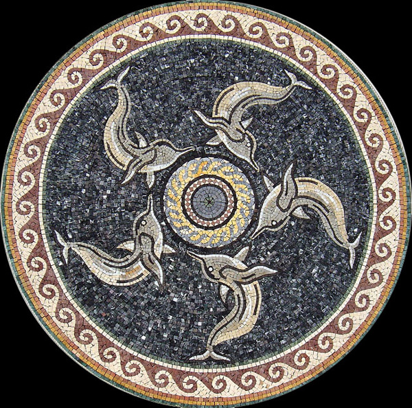 "Five Dolphins Handcut Stone Mosaic Medallion 50"" Circle, 1 piece"