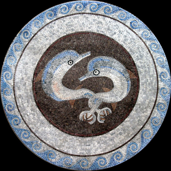 "Ostia Twin Dolphins Handcut Stone Mosaic Medallion 50"" Circle, 1 piece"