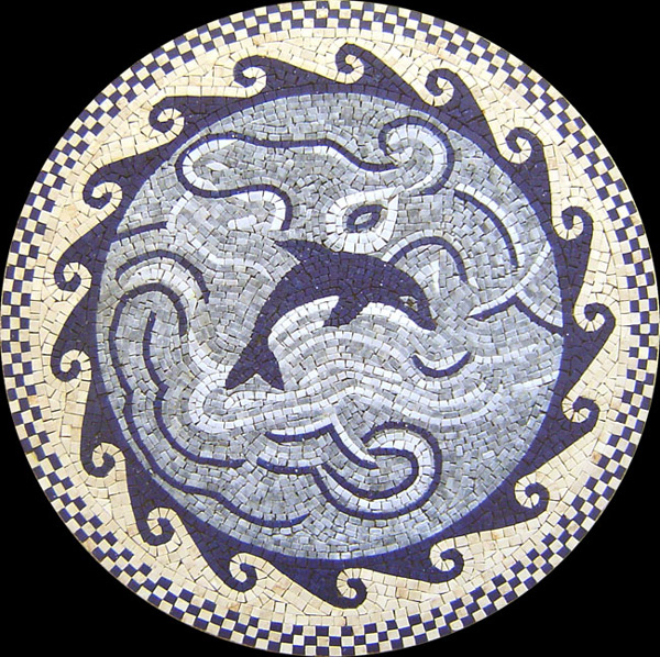 "Dolphin Song Handcut Stone Mosaic Medallion 48"" Circle, 1 piece"