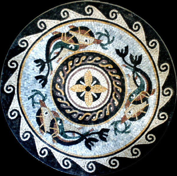 Ancient Fish Stone Mosaic Medallions