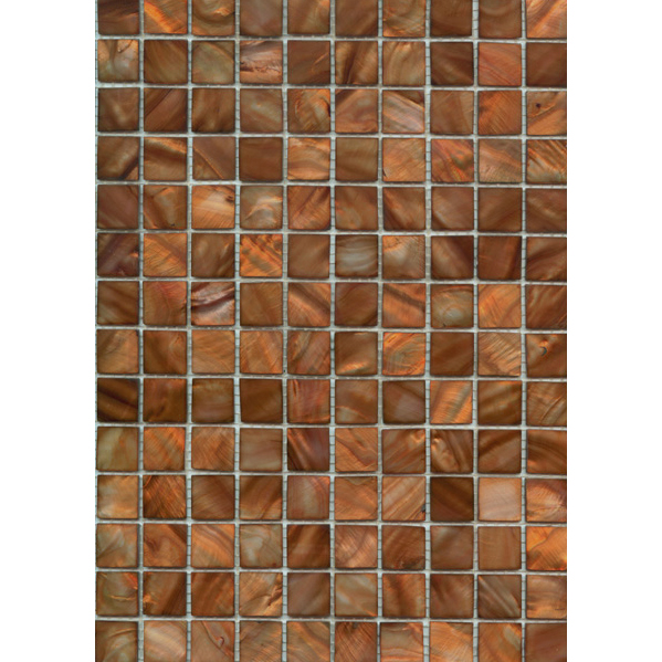 "Mahogany River Shell Mosaic Sheet, 20mm-3/4"", 1 tile"