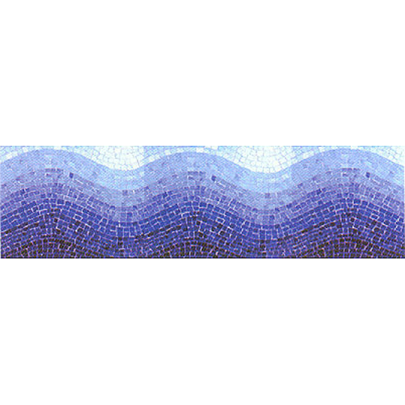"Tide Hand Cut Byzantine Glass Mosaic Pool Waterline, 8 5/8"" High, 1 Lineal Foot"