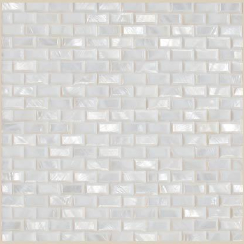 "Masone 1 White River Shell Beveled Brick Geometric Seashell Tile, 11.81"" x 11.81"", 1 Tile"