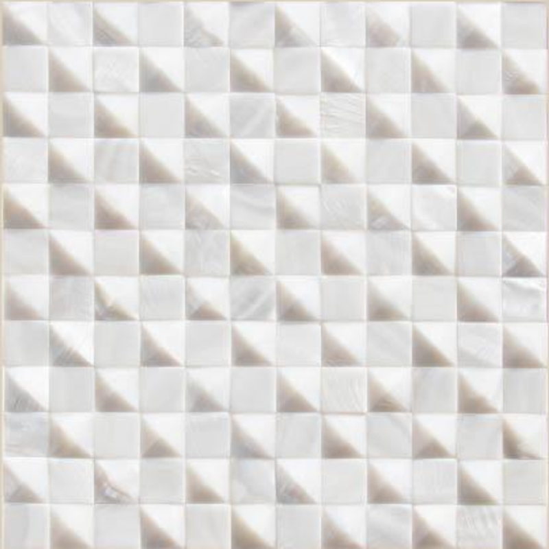 "Masone 2 White River Shell Domed Pyramid & Squares Seashell Tile, 11.81"" x 11.81"", 1 Tile"