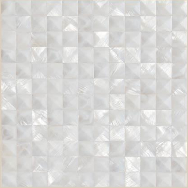 "Masone 3 White River Shell Pyramid Seashell Tile, 11.81"" x 11.81"", 1 tile"