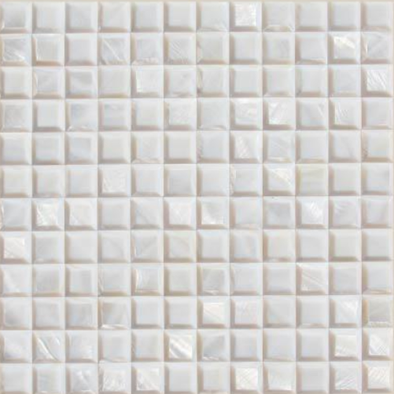 "Masone 4 White River Shell Beveled Geometric Seashell Tile, 11.81"" x 11.81"", 1 tile"
