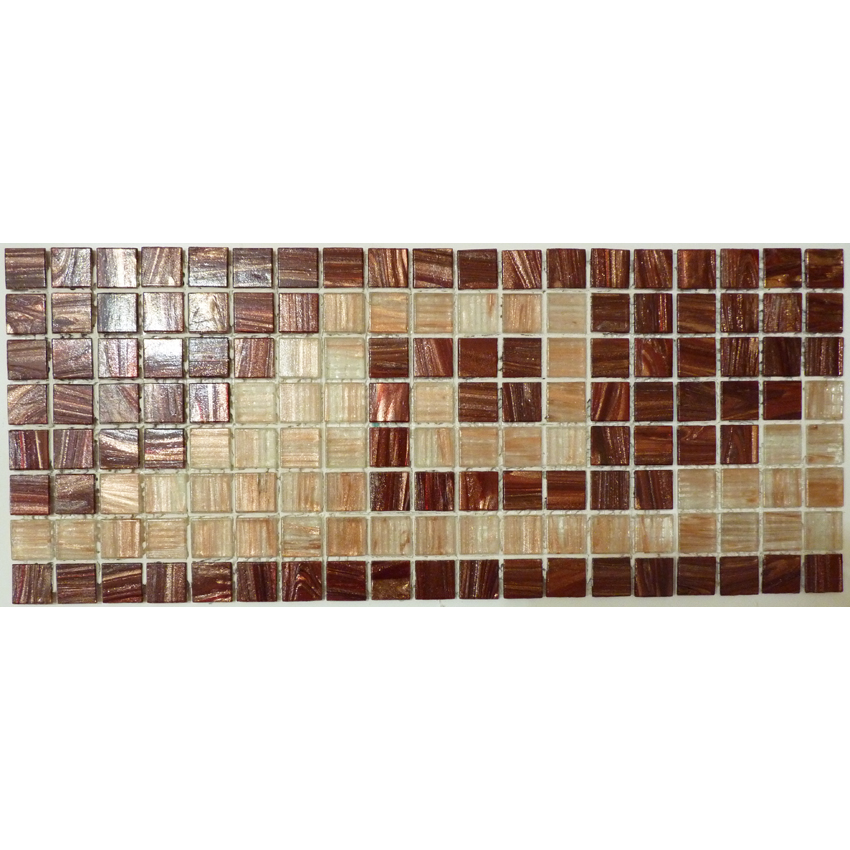 "Mayan Greek Key Glass Mosaic Waterline or Border 6.75"" High, 1 Lineal Foot"