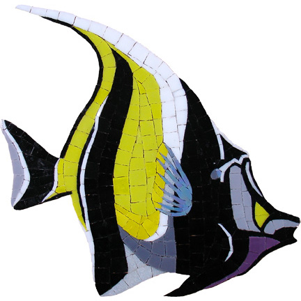 "Moorish Idol Handcut Glass Mural 12 x 13"", 1 piece"