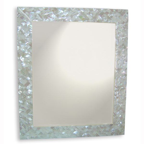 "White Mother of Pearl Shell Mirror, 30"" x 42"" Rectangle, 1 piece"