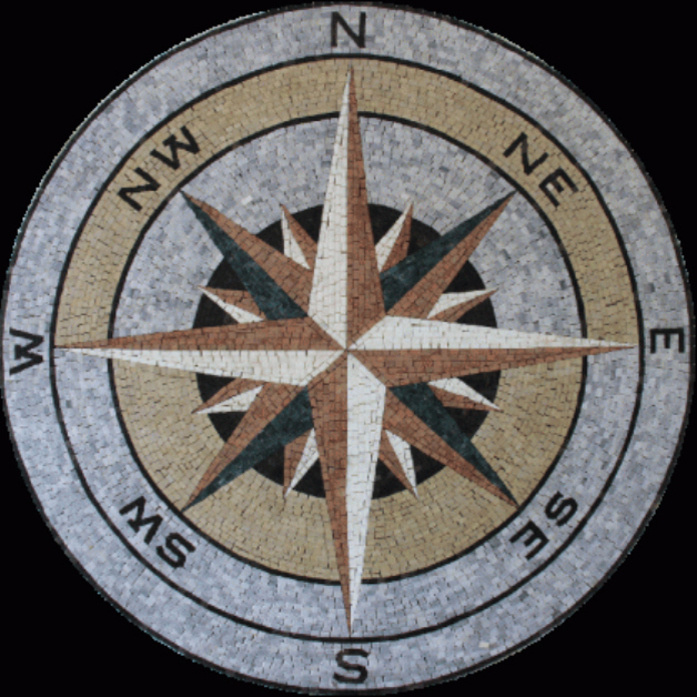 "NSEW Compass Stone Handcut Mosaic Medallion 40"" Circle, 1 piece"