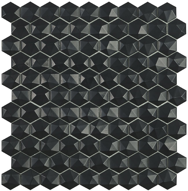 Black Matt #903 3D Hex Vidrepur Nordic Glass Mosaic Tile, 35mm, 1 sheet