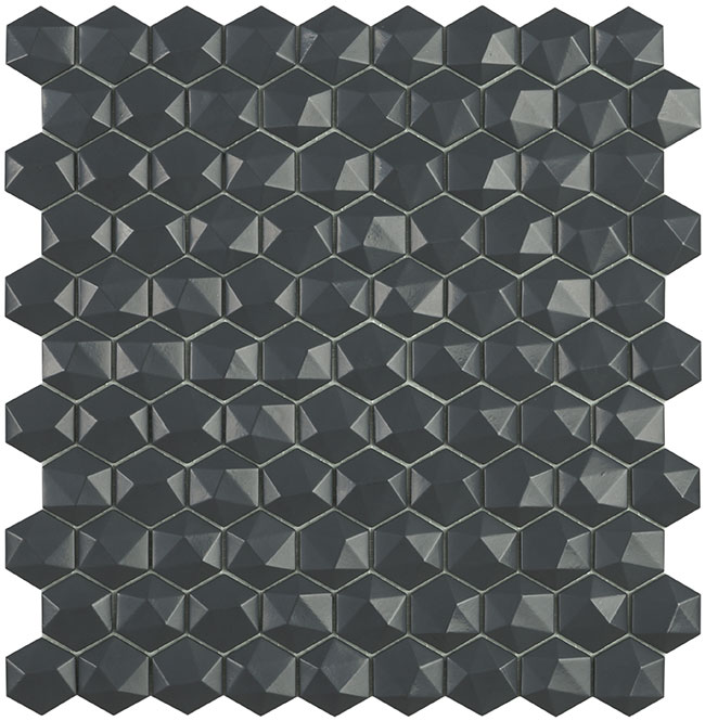 Dark Grey Matt #908 3D Hex Vidrepur Nordic Glass Mosaic Tile, 35mm, 1 sheet