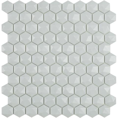 Light Grey Matt #909 3D Hex Vidrepur Nordic Glass Mosaic Tile, 35mm, 1 sheet