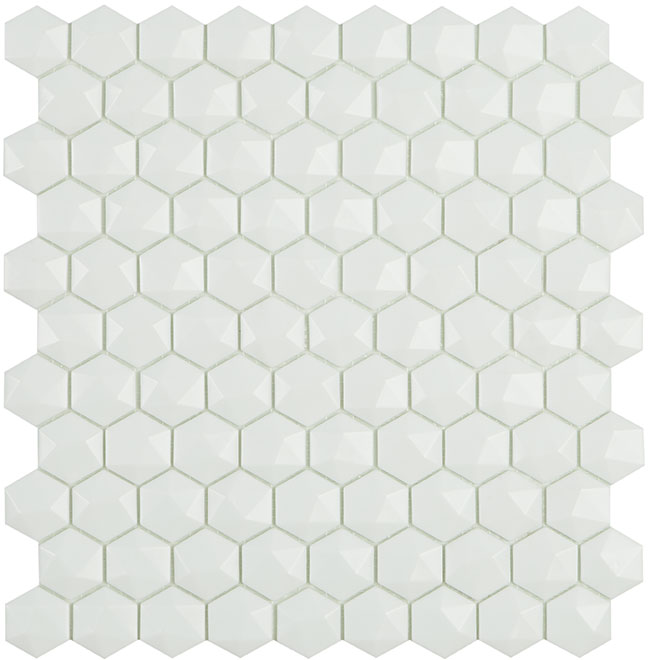 White Matt #910 3D Hex Vidrepur Nordic Glass Mosaic Tile, 35mm, 1 sheet