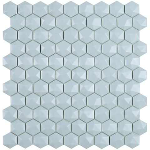 Light Blue Matt #925 3D Hex Vidrepur Nordic Glass Mosaic Tile, 35mm, 1 sheet