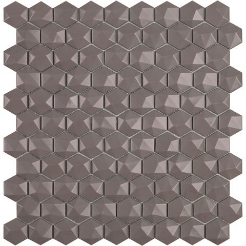 Frappe Matt #926 3D Hex Vidrepur Nordic Glass Mosaic Tile, 35mm, 1 sheet