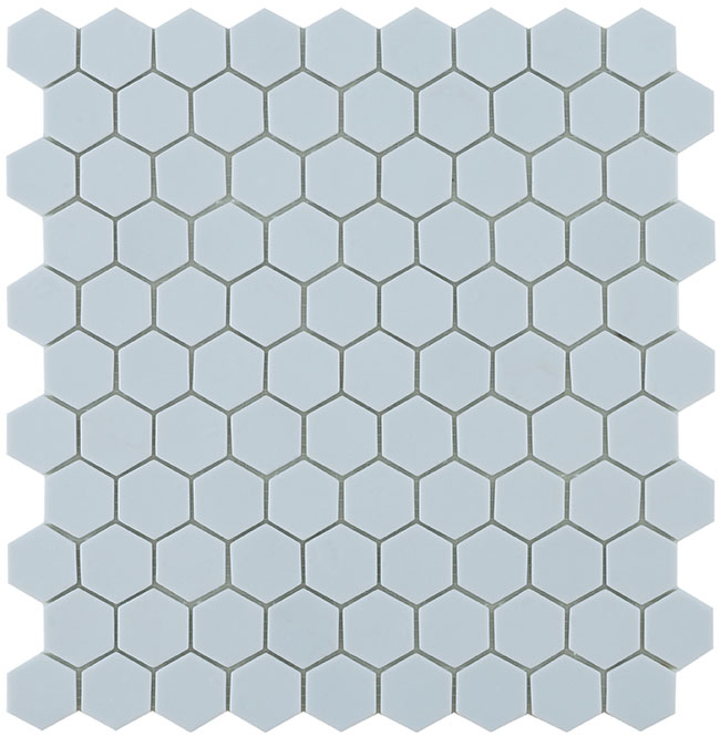 Light Blue Matt #925 Flat Hex Vidrepur Nordic Glass Mosaic Tile, 35mm, 1 sheet
