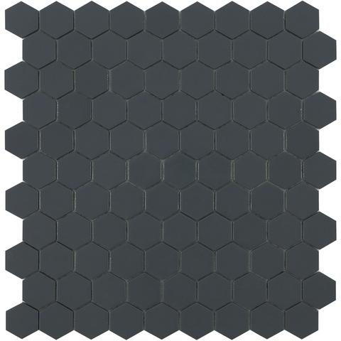 Dark Grey Matt #908 Flat Hex Vidrepur Nordic Glass Mosaic Tile, 35mm, 1 sheet
