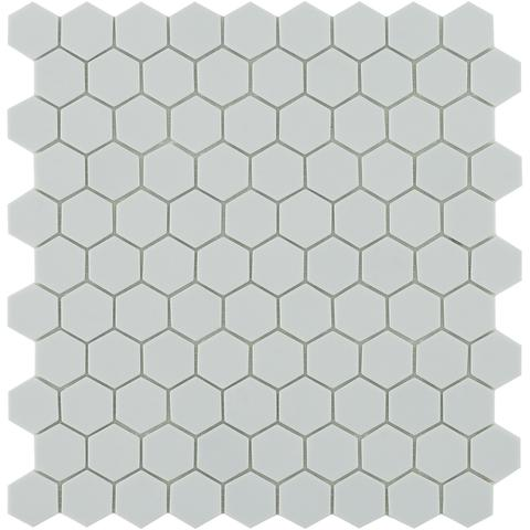 Light Grey Matt #909 Flat Hex Vidrepur Nordic Glass Mosaic Tile, 35mm, 1 sheet