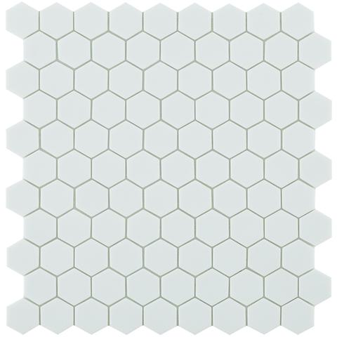 White Matt #909 Flat Hex Vidrepur Nordic Glass Mosaic Tile, 35mm, 1 sheet