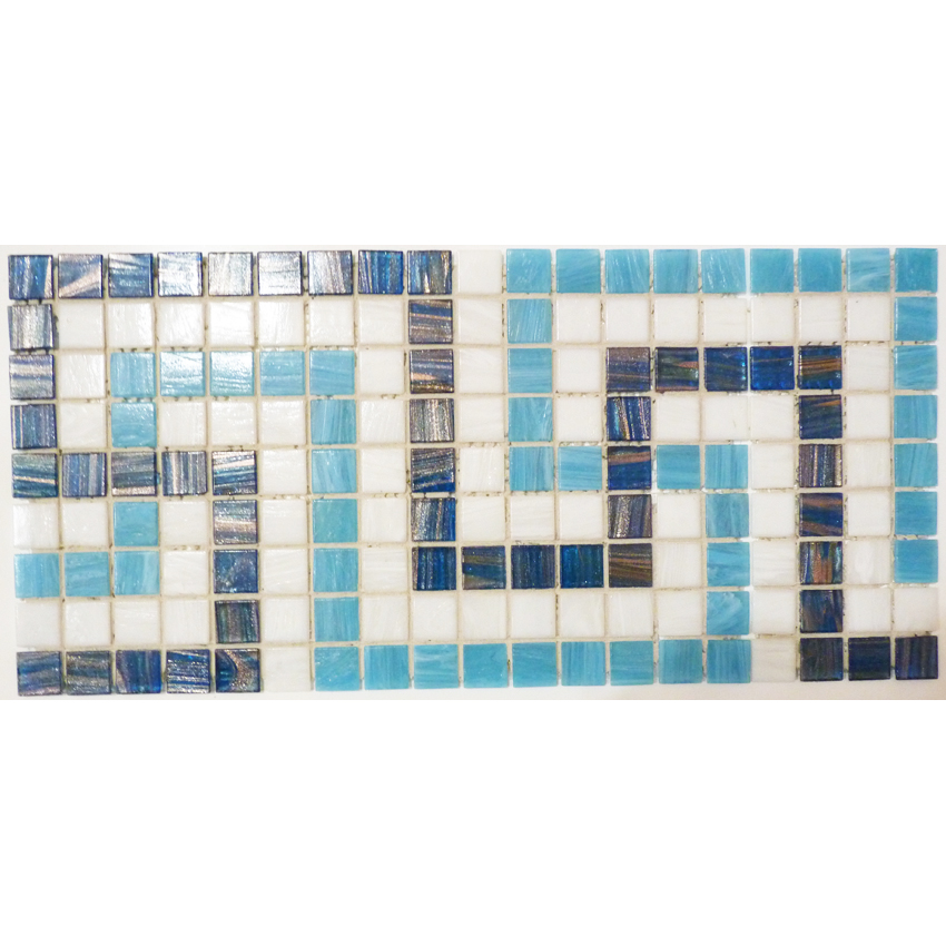"Nouveau Greek Key Glass Mosaic Waterline or Border 7.75"" High, 1 Lineal Foot"