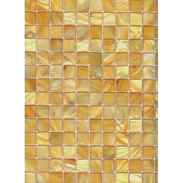 "Yellow Gold River Shell Mosaic Sheet, 20mm-3/4"", 1 tile"