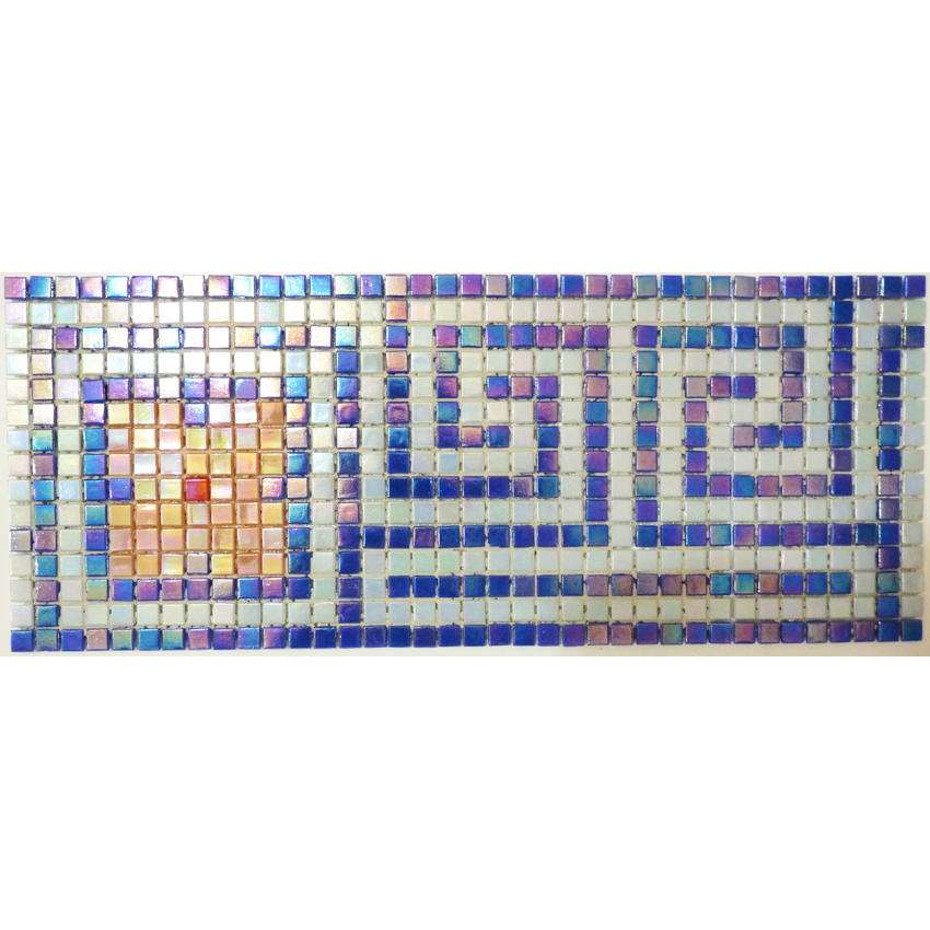 "Ostia Greek Key Glass Mosaic Waterline or Border 6.5"" High, 1 Lineal Foot"