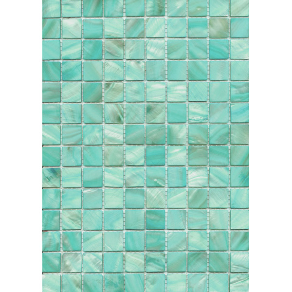 "Light Teal River Shell Mosaic Sheet, 20mm-3/4"", 1 tile"