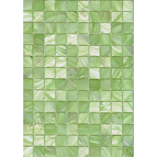 "Light True Green River Shell Mosaic Sheet, 20mm-3/4"", 1 tile"