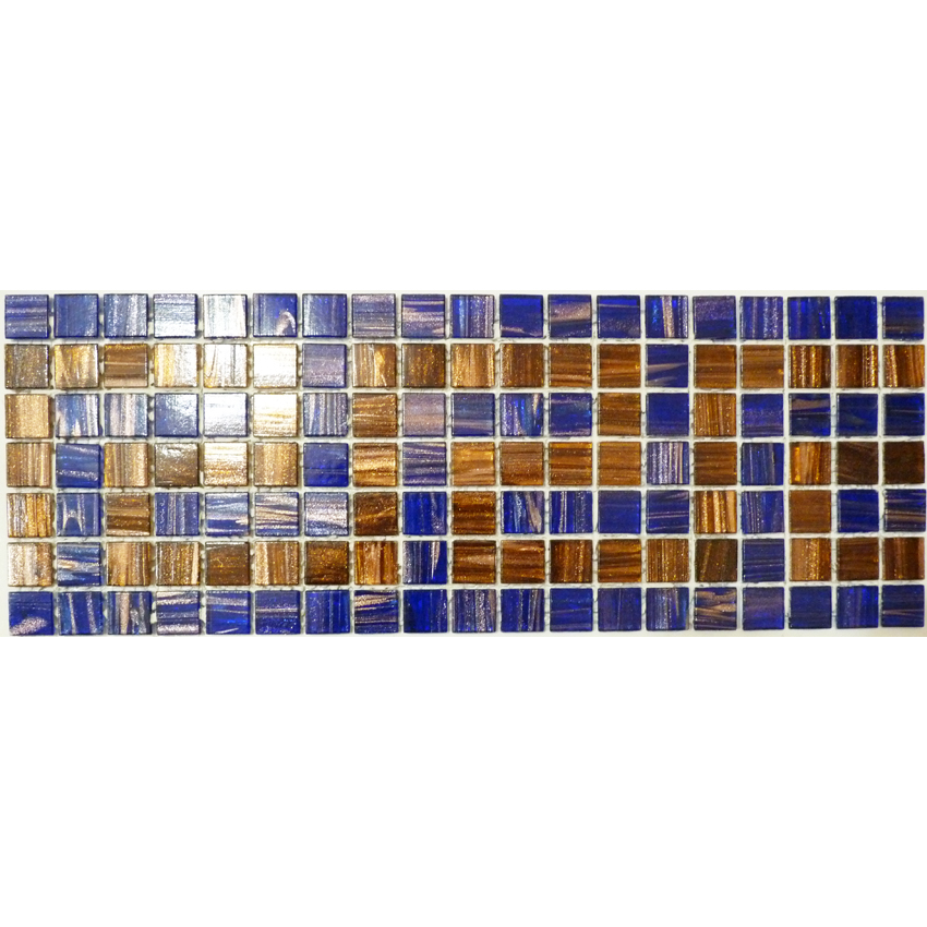 "Paros Golden Greek Key Glass Mosaic Waterline or Border 6"" High, 1 Lineal Foot"