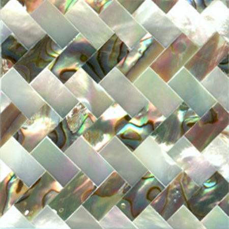 "Paua & White Mother of Pearl Zig Zag Shell Tile 2"" x 2"", 1 Tile"