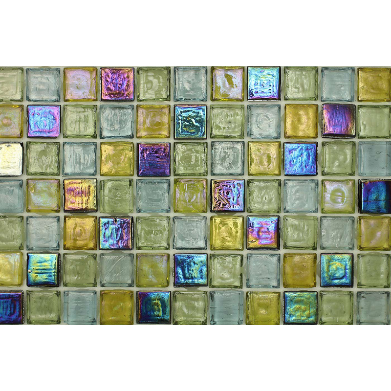 Peridot 1702 Jewel Molten Glass Blend Villi Glass Mosaic Tile, 1 sheet