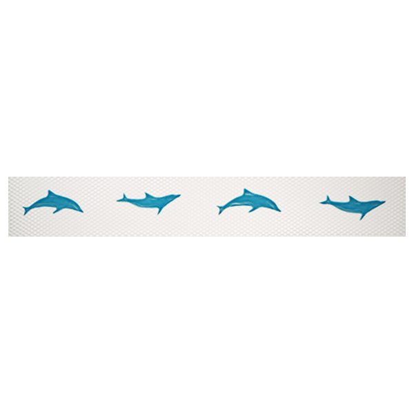 "AIM Step Markers Dolphins Aqua Ceramic Mosaic Swimming Pool Mural 3"" x 24"", 1 set"
