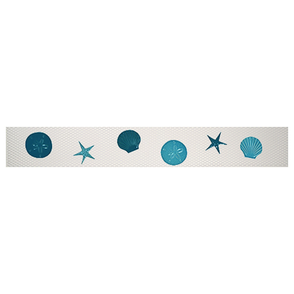 "AIM Step Markers Shells Aqua Ceramic Mosaic Swimming Pool Mural 3"" x 24"", 1 set"