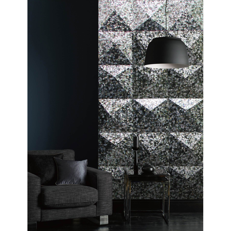 Quijote 5 Black Mother of Pearl Pyramid Shell Tile Installation