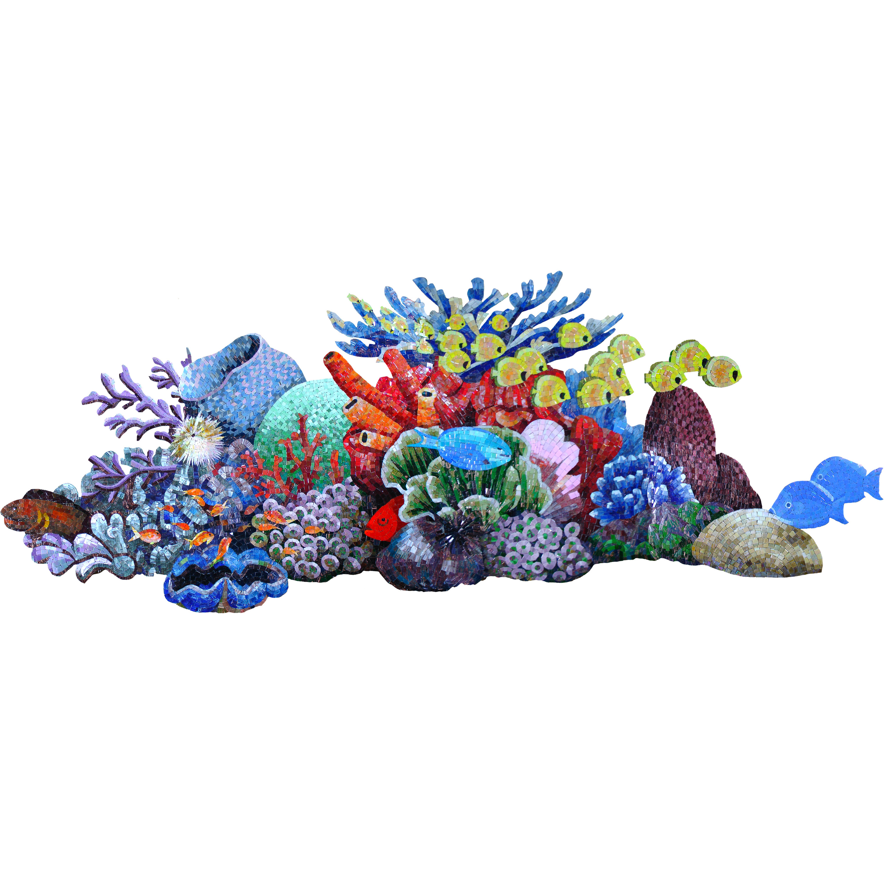 Reef Scene Glass Swimming Pool Mural 37 x 100""