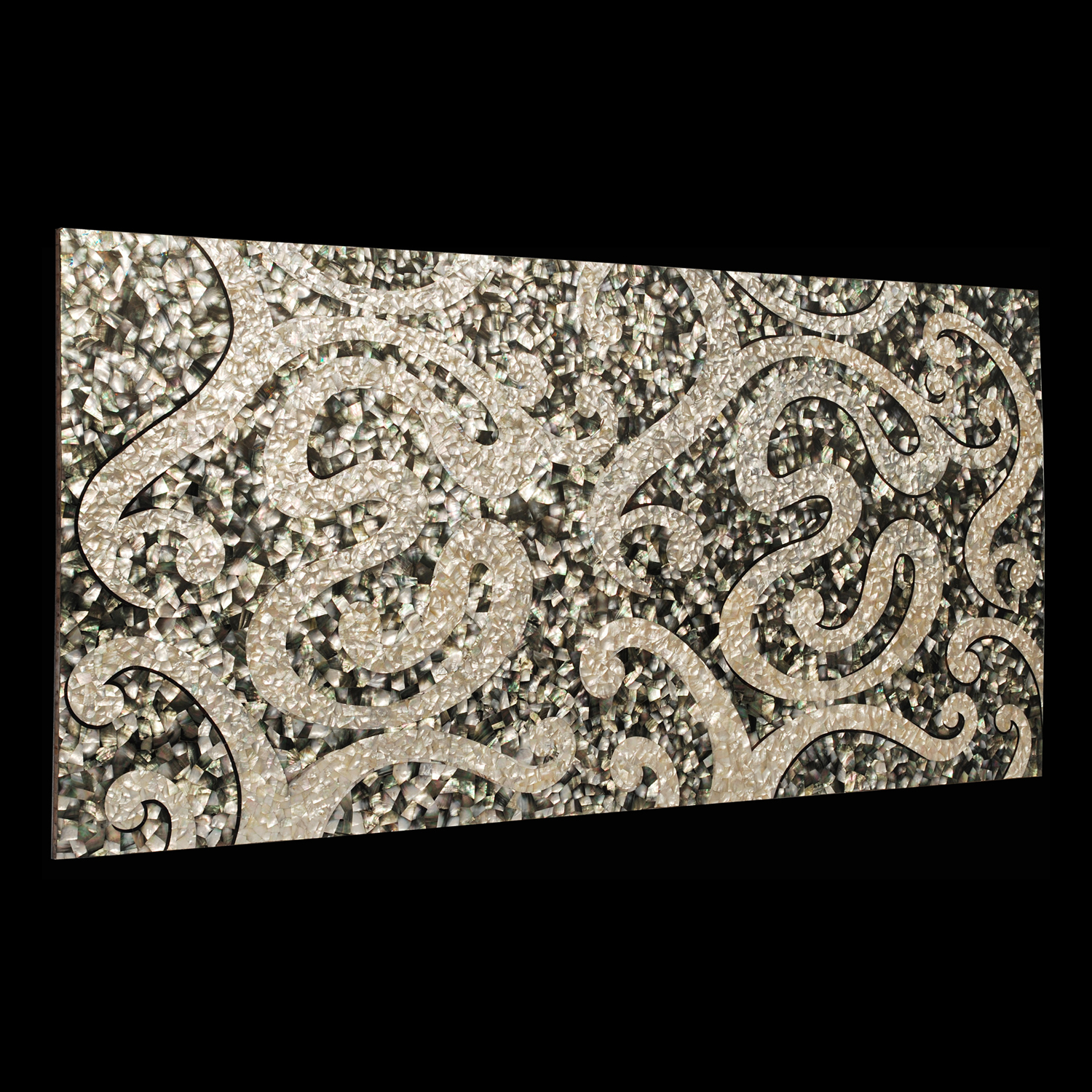 Swirl Black & White Mother of Pearl Shell Overlay Panel 4x8', 1 piece