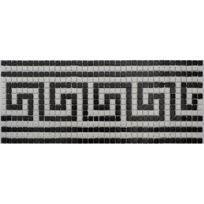 "Samos II Greek Key Glass Mosaic Waterline or Border 6.5"" High, 1 Lineal Foot"