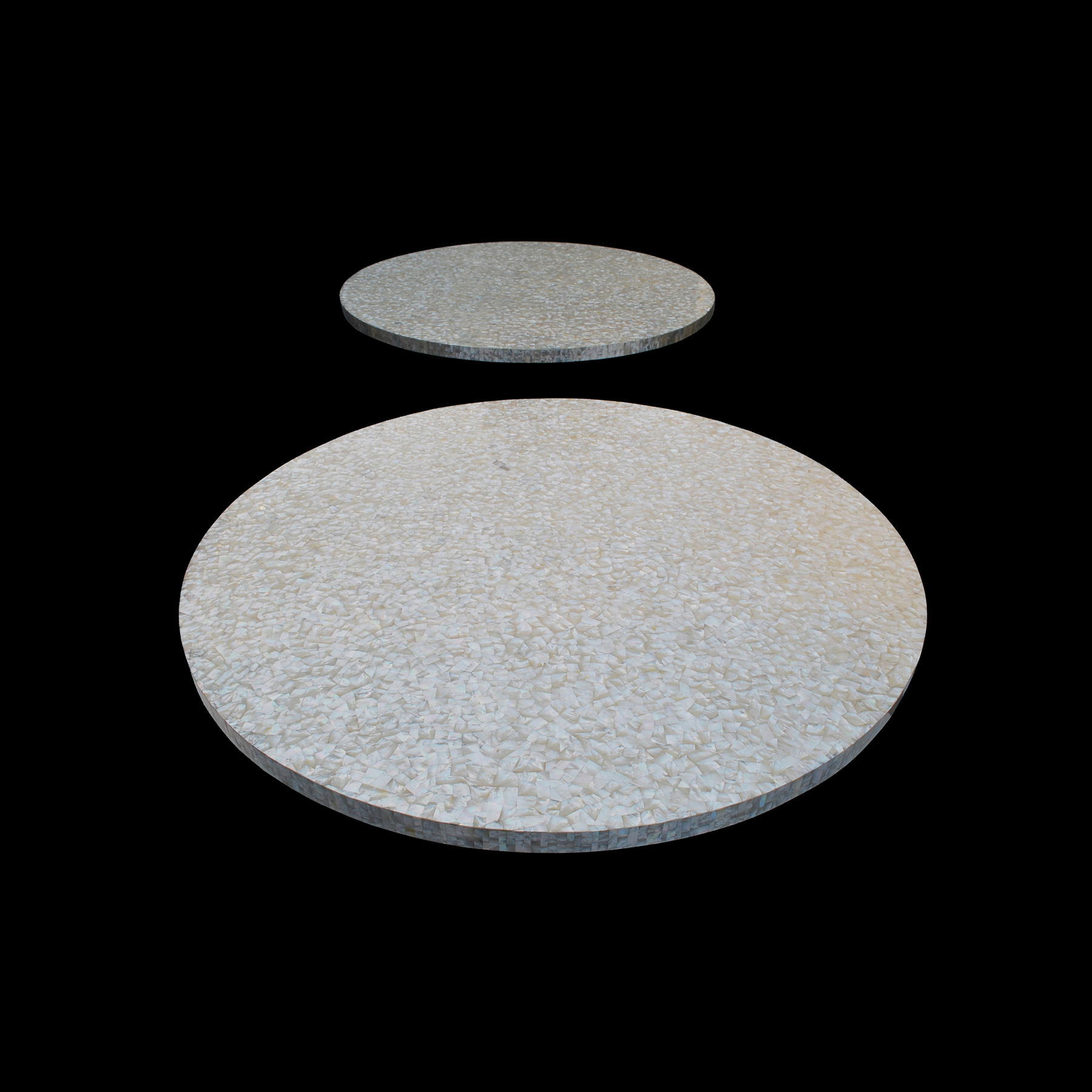 "White Mother of Pearl Shell Overlay Tabletop 48"", 1 piece"