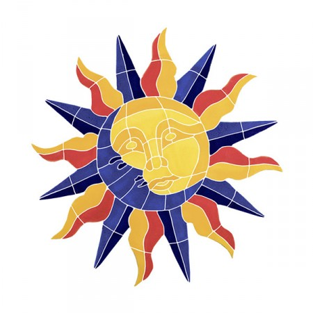"Sun and Moon Ceramic Medallion 20"" x 20"", 1 mural"