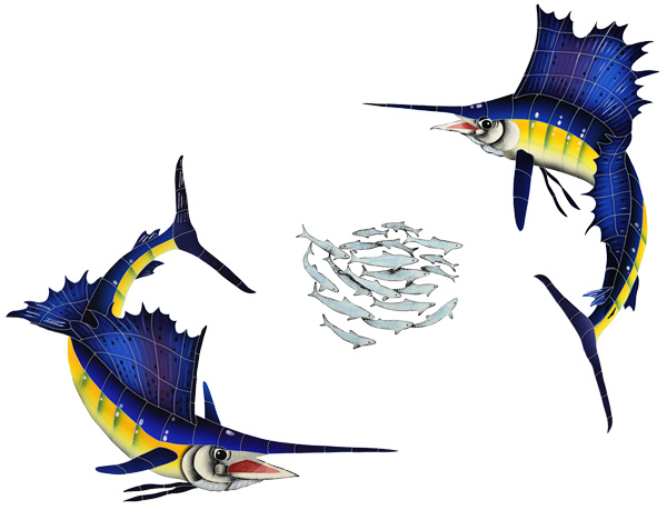 "Sailfish Group Small with Bait Ball Ceramic Pool Mural 36"" x 49"", 1 mural"