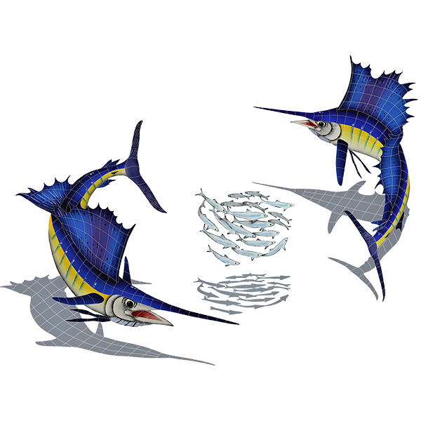 "Sailfish Group Large with Shadow and Bait Ball Ceramic Pool Mural 74"" x 95"", 1 mural"