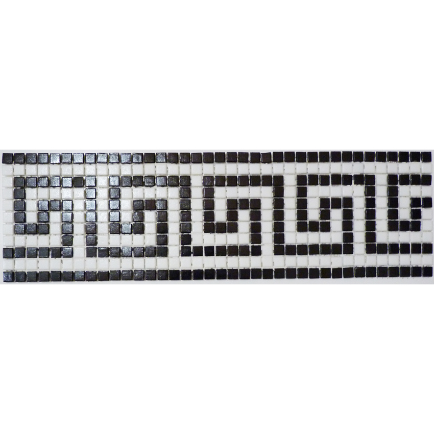 "Samos Greek Key Glass Mosaic Waterline or Border 4.75"" High, 1 Lineal Foot"