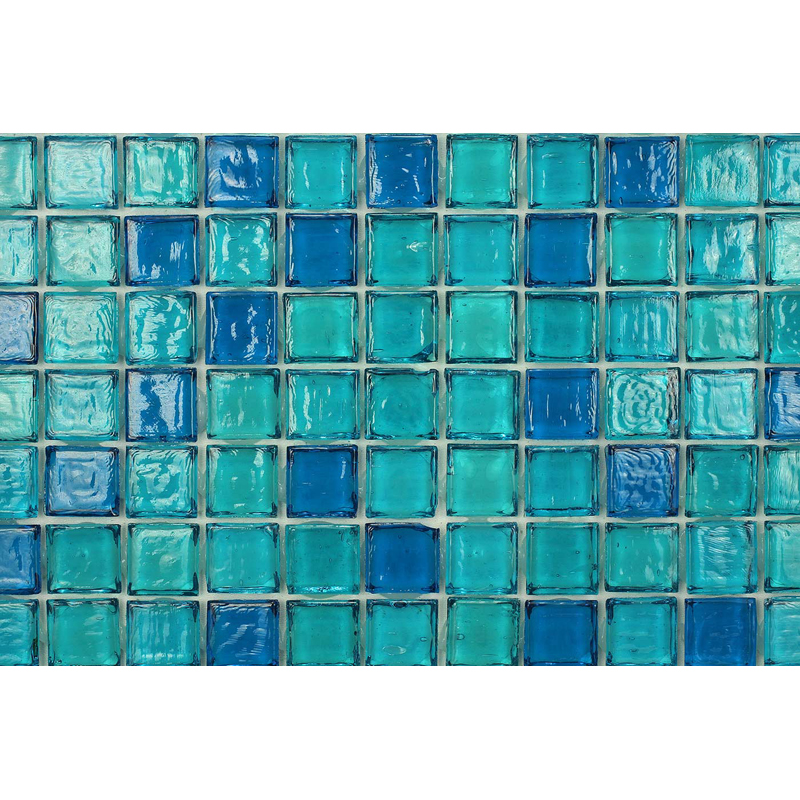 Sapphire 1703 Jewel Molten Glass Blend Villi Glass Mosaic Tile, 1 sheet