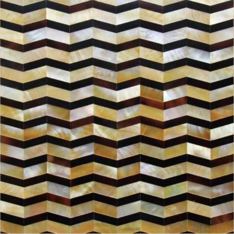 "Shakespeare 1 Gold MOP, Pen Shell Chevron Seashell Tile, 11.81"" x 11.81"", 1 tile"