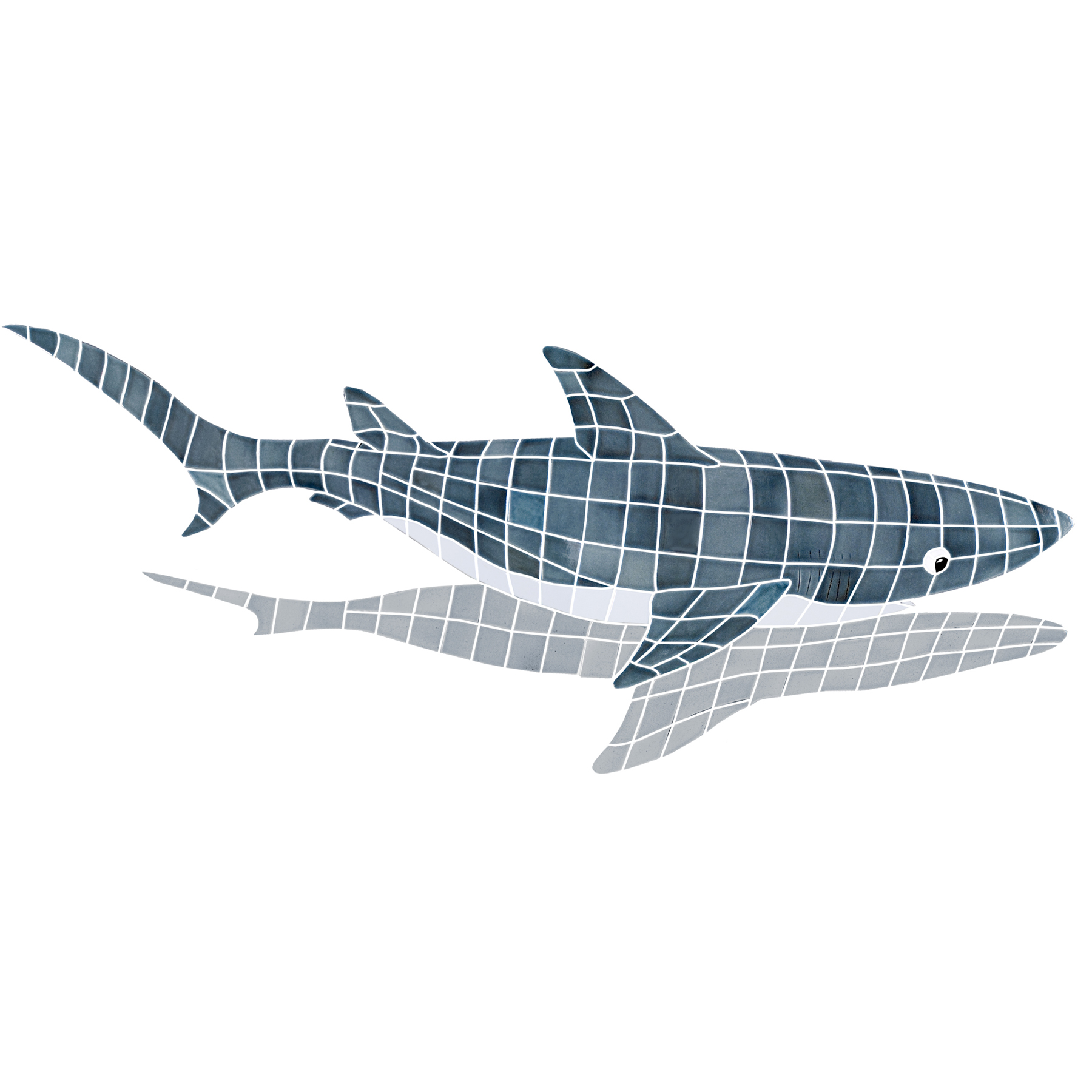 Ceramic Mosaic Shark Pool Murals
